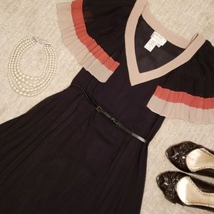 Black Orange and Tan Pleated Dress M.S.S.P